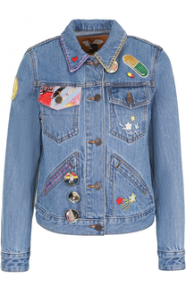 Джинсовая куртка с укороченным рукавом и нашивками Marc Jacobs