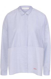 Хлопковая блуза свободного кроя в полоску 5PREVIEW