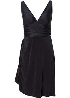 Купальник-платье с асимметричной юбкой (черный) Bonprix