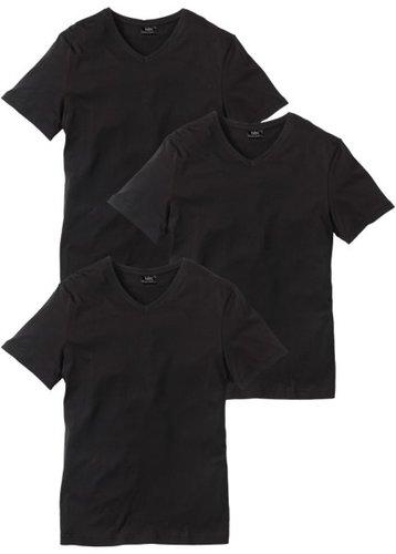Футболка Regular Fit с V-образной горловиной (3 изделия в упаковке) (черный/черный/черный)