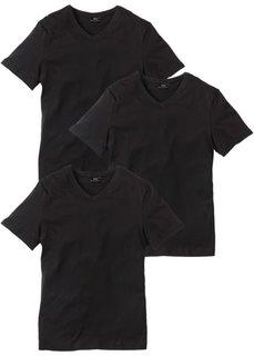 Футболка Regular Fit с V-образной горловиной (3 изделия в упаковке) (черный/черный/черный) Bonprix