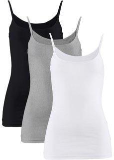 Трикотажный топ (3 штуки в упаковке) (белый + черный + светло-серый меланж) Bonprix