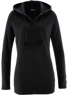 Удлиненный пуловер с капюшоном (черный) Bonprix