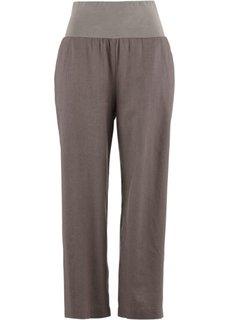 Льняные брюки-кюлоты (бурый) Bonprix