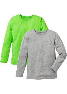 Футболка (2 шт.) (зеленый неон/светло-серый меланж) Bonprix