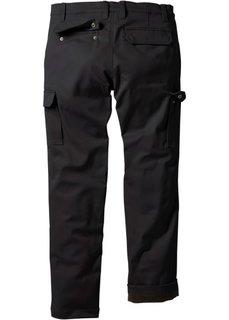Термобрюки карго прямого кроя, cредний рост (N) (черный) Bonprix