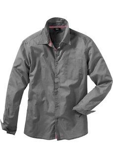Рубашка с длинным рукавом, стандартный покрой (дымчато-серый) Bonprix