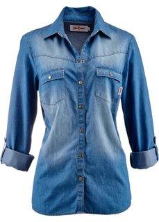 Джинсовая блуза-рубашка (голубой выбеленный «потертый») Bonprix