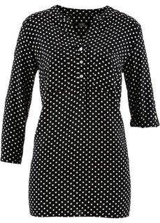 Блуза с рукавами 3/4 (черный/белый в горошек) Bonprix