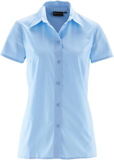 Однотонная блузка с короткими рукавами (нежно-голубой) Bonprix