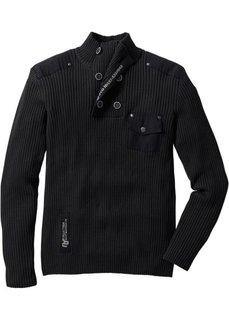 Эффектный пуловер облегающего покроя (черный) Bonprix
