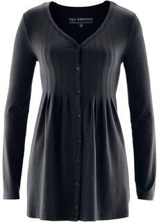 Трикотажная блузка с защипами (черный) Bonprix