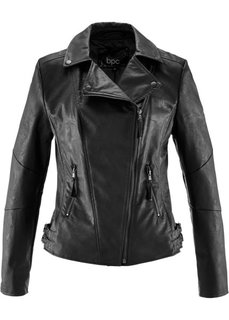 Куртка-косуха из искусственной кожи (черный) Bonprix