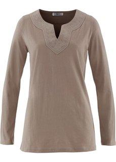 Туника с вышивкой и длинным рукавом (серо-коричневый) Bonprix