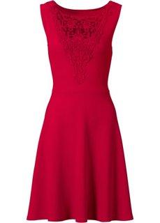 Платье с кружевной отделкой лифа (красный) Bonprix