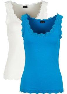 Топ с кружевом (2 шт.) (капри-синий/цвет белой шерсти) Bonprix