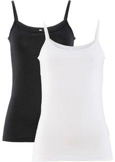 Топ (2 штуки в упаковке) (белый/черный) Bonprix