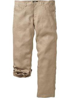 Льняные брюки Regular Fit Straight, низкий + высокий рост (U + S) (бежевый) Bonprix