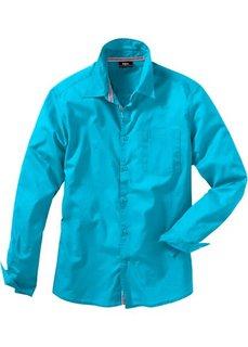 Рубашка с длинным рукавом, стандартный покрой (бирюзовый) Bonprix