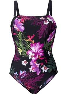 Утягивающий купальный костюм (черный/лиловый) Bonprix