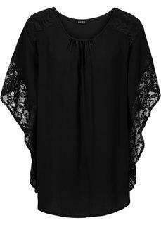 Блузка с кружевными деталями (черный) Bonprix