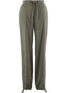Льняные брюки с поясом в резинку (оливковый) Bonprix