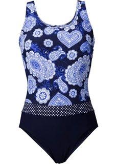 Формирующий купальник (синий с рисунком) Bonprix