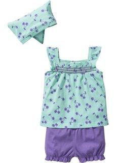 Мода для малышей: топ + шорты + платок (3 изд.) из биохлопка, Размеры  56/62-104/110 (нежная мята/нежно-лиловый) Bonprix