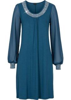 Платье с аппликациями из стразов (серо-синий) Bonprix