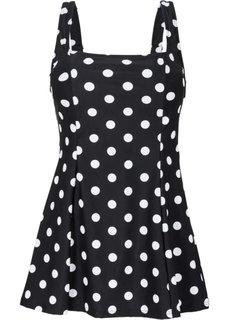 Купальник-платье, моделирующий фигуру (черный/белый в горошек) Bonprix