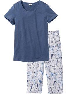 Пижама-капри (индиго/светло-серый меланж с принтом) Bonprix