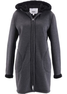 Трикотажная куртка с плюшевой подкладкой (антрацитовый меланж) Bonprix