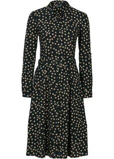 Платье (черный/верблюжий в горошек) Bonprix