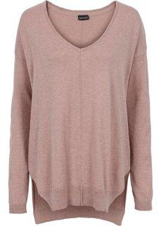 Пуловер с V-образным вырезом (винтажно-розовый) Bonprix