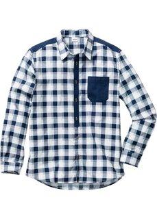 Клетчатая рубашка Regular Fit с длинным рукавом (белый/ночная синь в клетку) Bonprix