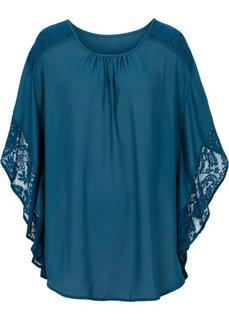 Блузка с кружевными деталями (серо-синий) Bonprix