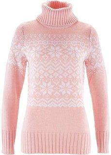 Пуловер в норвежском стиле (жемучжно-розовый с узором) Bonprix