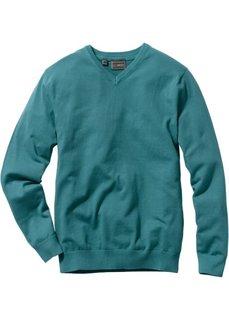 Пуловер Regular Fit с V-образным вырезом (сине-зеленый) Bonprix