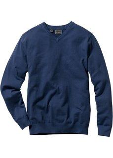 Пуловер Regular Fit с V-образным вырезом (темно-синий) Bonprix
