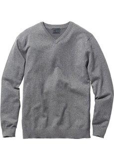 Пуловер Regular Fit с V-образным вырезом (серый меланж) Bonprix