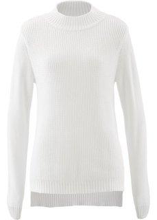 Пуловер с воротником-стойкой и структурным узором (цвет белой шерсти) Bonprix