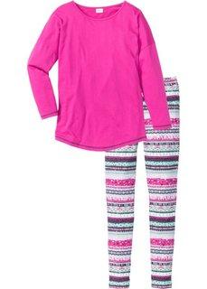 Пижама (фуксия/бирюзовый с узором) Bonprix