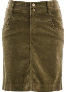 Вельветовая юбка (зеленый хаки) Bonprix