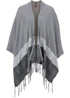 Вязаное пончо (серый/черный) Bonprix