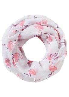Шарф-снуд Фламинго (белый/розовый) Bonprix