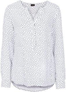 Блузка (белый/темно-синий в горошек) Bonprix