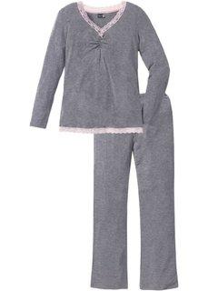 Пижама с расклешенными брюками (серый меланж) Bonprix