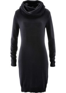 Вязаное платье с высоким воротом (черный) Bonprix