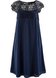 Шифоновое платье с кружевной отделкой (темно-синий) Bonprix