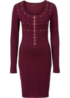 Вязаное платье с молнией и заклепками (темно-бордовый) Bonprix